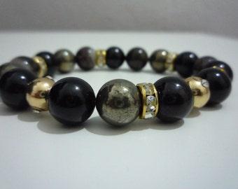 Pyrite and black tourmaline bracelet