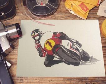 Magnificent 7.  Barry Sheene, Motorcycle, Yamaha, prints and original