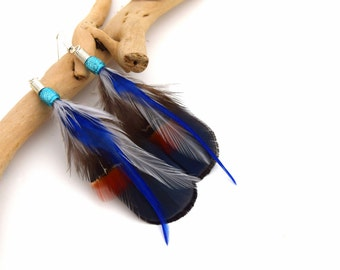 Feather earrings Bena - Ethnic Feather - pheasant feathers and colorful rooster
