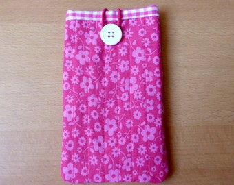 Pink flower iPhone/ Smartphone/ Cell phone cover - pink and white plead lining