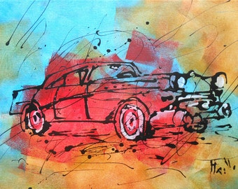 Painting  American car