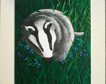 Print, Brock, badger art, wildlife  art, badgers, whimsical art, dancingharepottery, artist design, badger gift