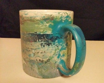 Teal Coffee Cup/Hand Painted Teal Coffee Mug/Large Upcycled Cup/Green Multicolored Coffee Mug/Painted Ceramic Cup/Housewarming Gift/Teal Mug