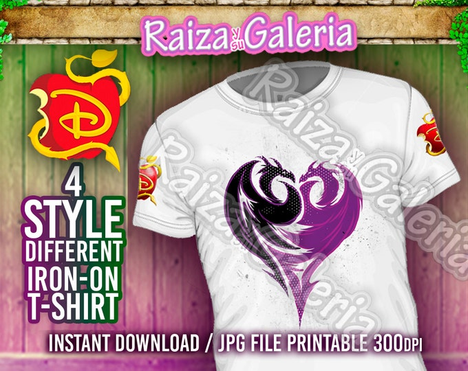Disney Descendants Icons T-Shirt Front, Back and Side. Iron On tshirt transfer! Digital Download Printable Descendants Party Tshirts!