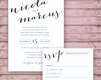 Calligraphy Wedding Invitation Suite - Print at Home Files or Printed Invitations - Modern Luxe Calligraphy Personalised Wedding Suite