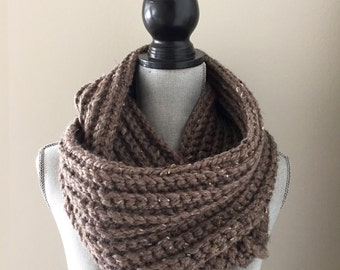 Brown Ribbed Crochet Infinity Scarf