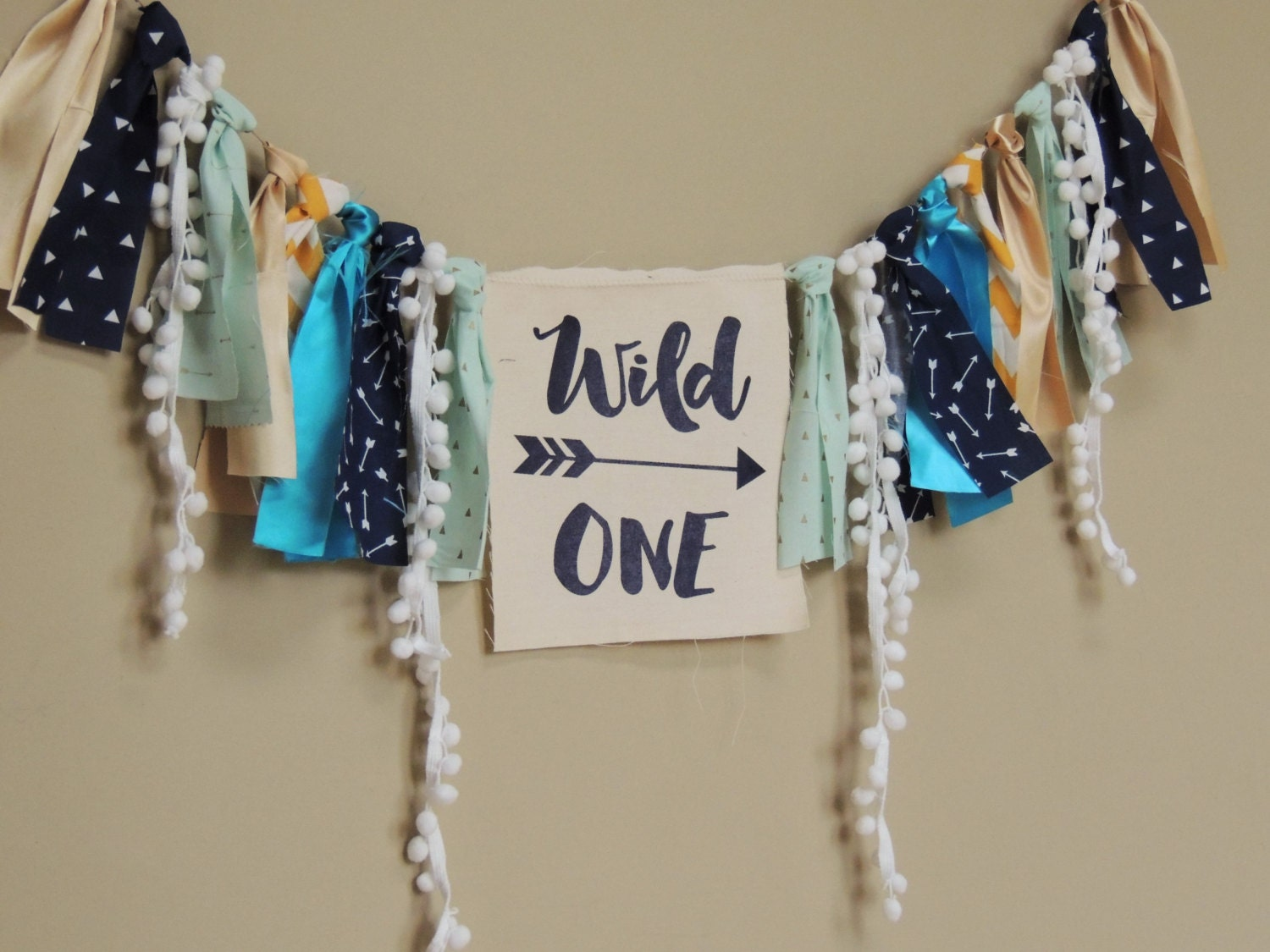 wild one birthday banner navy blue turquoise mint gold tribal