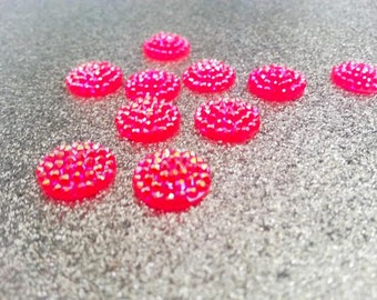 12mm Neon Pink, Hot Pink Vintage Style Studded Cabochon - 10 pcs