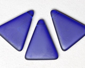 Large Czech Glass Triangle Bead - Frosted Pendant Beads - 30mm x 35mm - Various Matte Colors - Qty 2 or 10