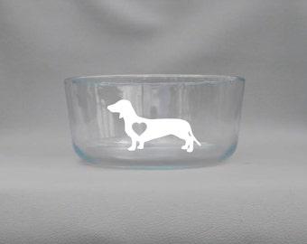 Deep Engraved Dishwasher Safe Dachshund Wiener Dog Doxie Dog Bowl - Glass Personalized Bowl With Lid - Custom Dachshund Glass Bowl