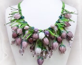 Beaded Necklace Spring Rosebuds Lampwork flowers buds Handmade Shades lilac Rose flowers Womens gift jewelery Necklace flowers With burgeon