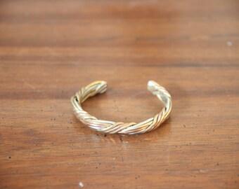 Braided Cuff in Silver, Copper and Brass