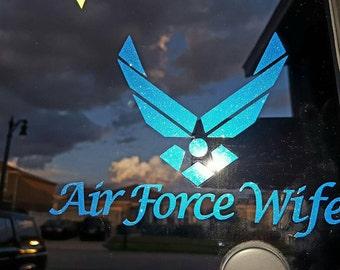 Air Force Wife Glittery Blue Car Sticker
