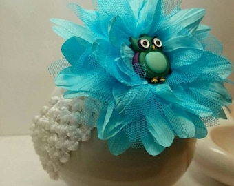 Infant Headband featuring beautiful blue flower with owl focal.