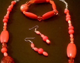 Orange (tangerine, red-orange, etc)  necklace set