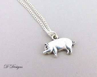 Pig Necklace, Silver Pig Pendent, Animal Charm Necklace, Charm Necklace, Silver Necklace, Trendy Necklace. gifts for her