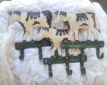 Rustic Farmhouse Cow Towel/Coat/Pot Rack Hangers - Set of 3