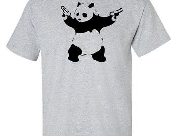 Banksy T-Shirt - Shooting Panda -Panda with Guns -