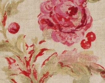 BEACON HILL MONTELCINO Floral Linen Fabric 5 Yards Lily Pink