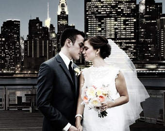 Your Custom Wedding Photo. Digital Manipulation can create a Romantic Background. Perfect Image using Photoshop. A Magical Wedding Portrait