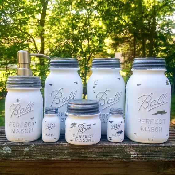 Mason Jar Kitchen Decor Set: White Mason Jar Canister Set White Kitchen Canister Set With