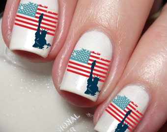 USA Independence Day United States of America Flag Nail Art Sticker Water Transfer Decal 73