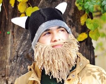 Crochet Viking Hat Beard * Black Viking Helmet Beige Beard * Viking Beard Hat * Crochet Beard Hat * Viking Bearded Crochet Hat Beanie Helmet