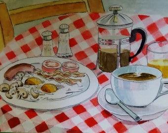 watercolour, original art, breakfast