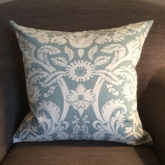 Seafoam Blue Decorative Pillows : Seafoam Blue and Ivory Cream Damask Cotton Decorative Pillow