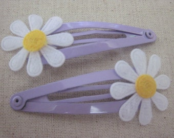 Set of 2 Purple and White Daisy Snap Clips for Baby Girl, Toddler, Girl, Gift, Non Slip Grip, Ready to Ship