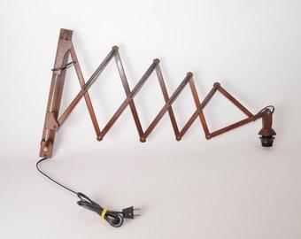 Large wooden teak midcentury scissor lamp, Danish style 1960s