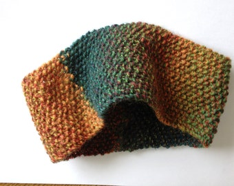 Multi colored knit headband, hand knit item, wool headband/ear warmer, self striping knit head wrap, knitted earwarmer