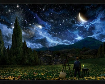 Framed Beautiful Night Stars Moon Poster 24 x 36 inches,  Nighttime Home Decor, Evening wall decor, Night sky art