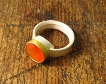 carnelian, silver and 22k gold ring