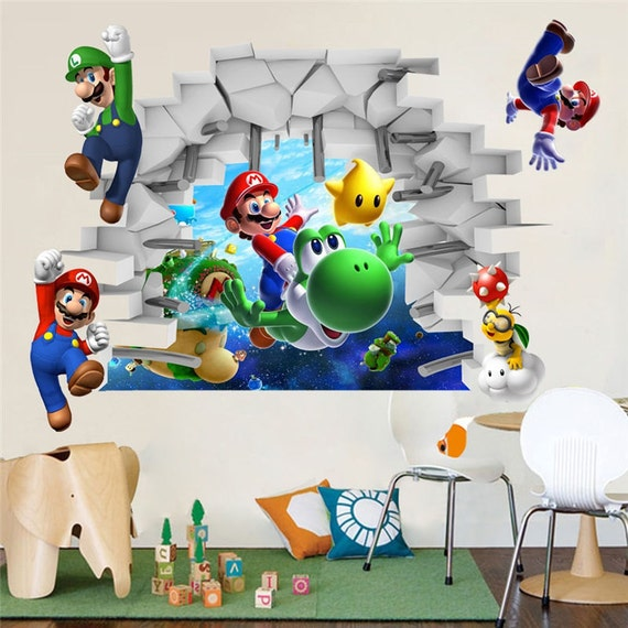 super mario removable bros kids room games wall sticker decals. Black Bedroom Furniture Sets. Home Design Ideas