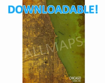 Downloadable Chicago ILLINOIS 1901, Vintage Old map, Downloadable Print,Map Wall Art, Printable Art, Man cave Decor, Printable