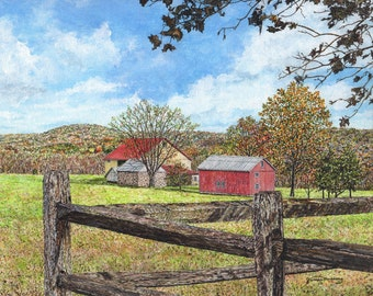 Farm Print - Barn Painting - Wooden Fence - Summer Print - Nature Art - Red Barn - Country Painting - Bright Painting - Matted Print