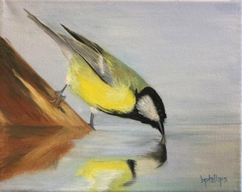 Drinking Bird, Original 8x10 Oil Painting on Canvas