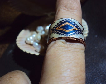 Handcrafted Copper ring in Southwest Native American design adjutable