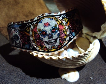 Cool handcrafted Sugar Skull Day of the Dead copper bracelet