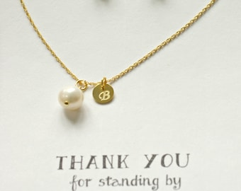 Set of 8 Personalized bridesmaid Pearl jewelry, Freshwater Pearl Necklace Earring Gold Set, Personalized Pearl Jewelry Set, TS8