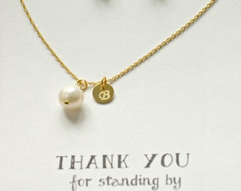 Set of 4 Personalized bridesmaid Pearl jewelry, Freshwater Pearl Necklace Earring Gold Set, Personalized Pearl Jewelry Set, TS4