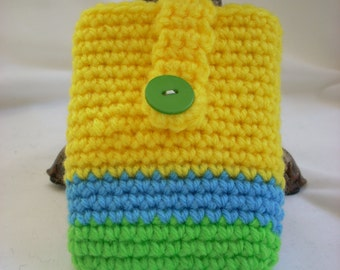 Playing Card Case / Business Card Holder / Crochet Pouch / Gift Card Envelope / Trading Card Holder yellow, blue and green