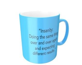 EINSTEIN - insanity quote Men's Mug from FatCuckoo DM1164