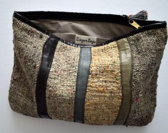 Textured Vintage Oversized Clutch / Purse / Handbag / Pocketbook / Burlap / Barkcloth