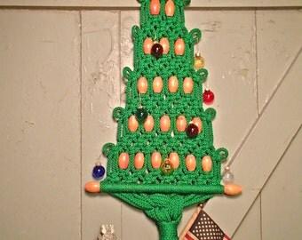 Macrame Vintage Retro Kitsch Tree, Christmas Tree, Handmand