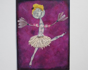 Ballerina Collage Mixed Media  OOAK