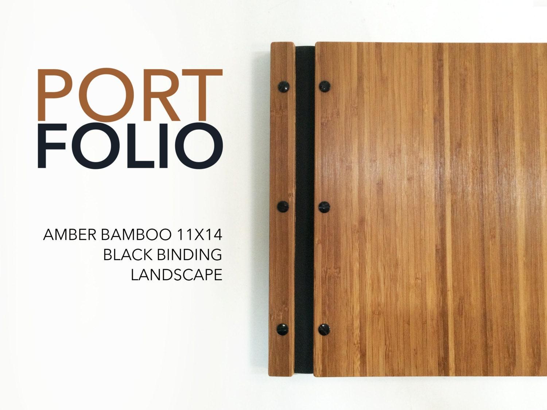 resumes 11x14 landscape amber bamboo portfolio presentation folio wood modern portfolio photography graphic design portfolio screw post book