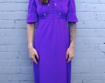 Vintage 1960's bohemian purple prairie maxi dress