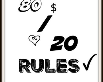 80 20 Rules Printable Art, Motivational Quote